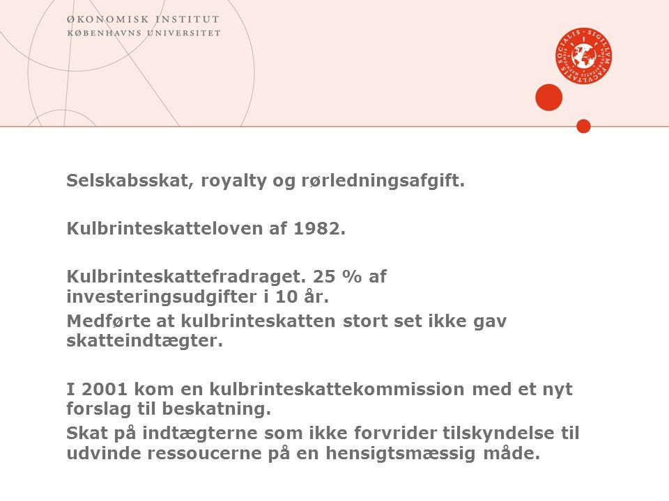 Selskabsskat, royalty og rørledningsafgift.