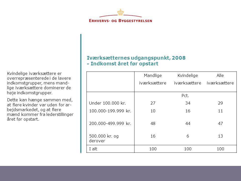 Iværksætternes udgangspunkt, 2008 - Indkomst året før opstart