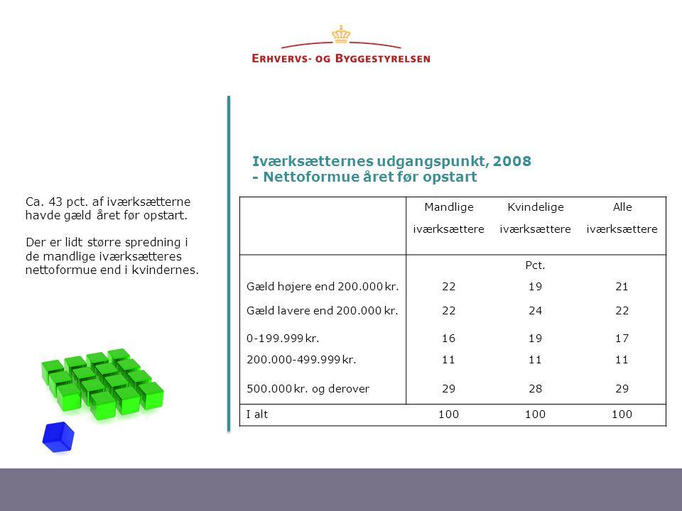 Iværksætternes udgangspunkt, 2008 - Nettoformue året før opstart