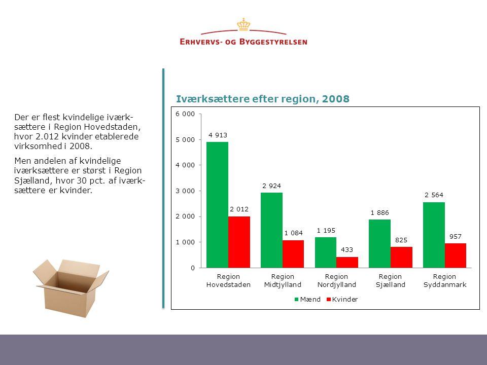 Iværksættere efter region, 2008