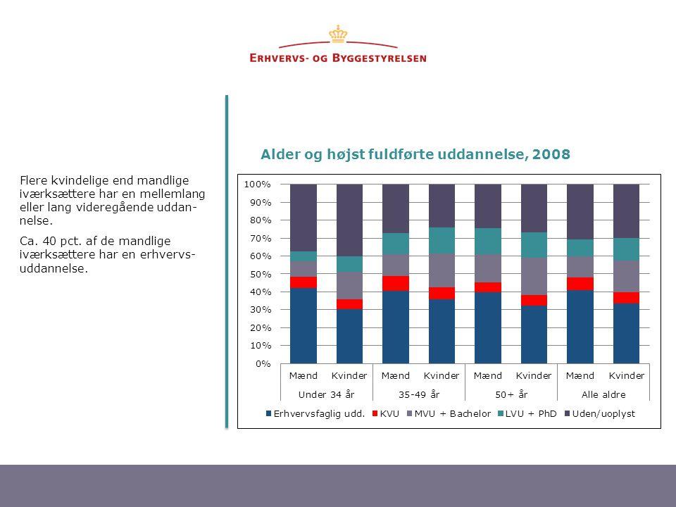 Alder og højst fuldførte uddannelse, 2008