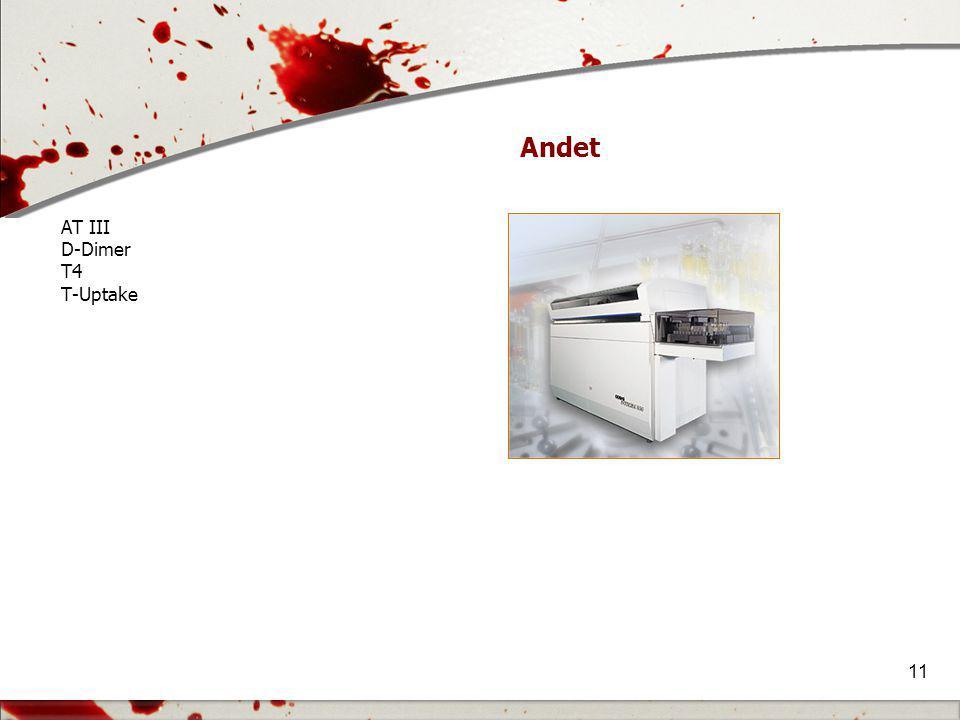 Andet AT III D-Dimer T4 T-Uptake