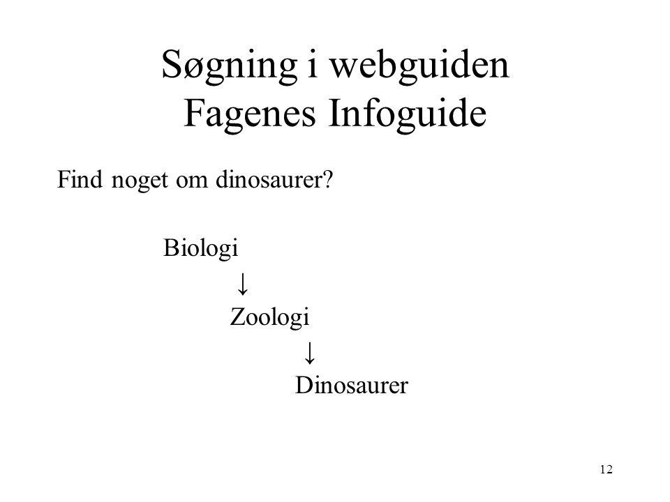 Søgning i webguiden Fagenes Infoguide