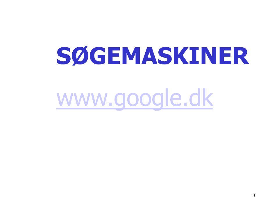 SØGEMASKINER www.google.dk