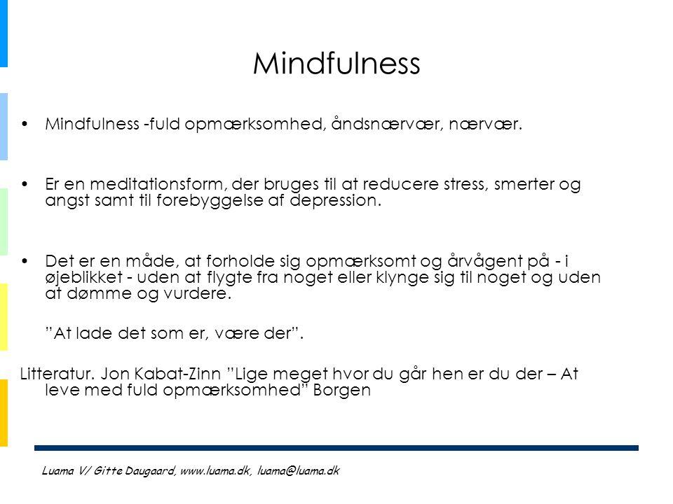 Mindfulness Mindfulness -fuld opmærksomhed, åndsnærvær, nærvær.