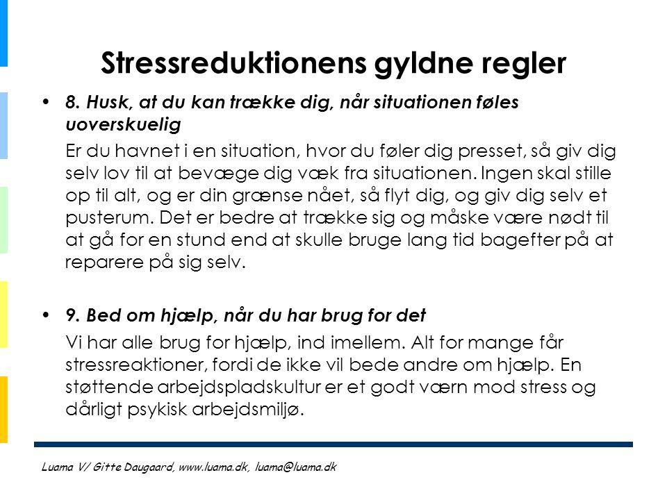 Stressreduktionens gyldne regler