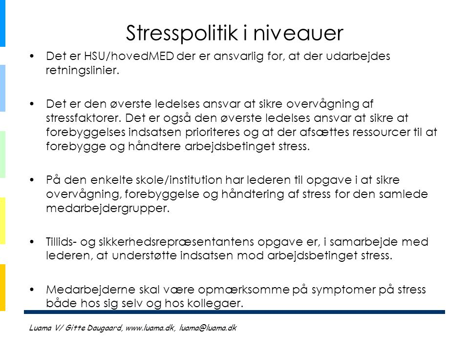 Stresspolitik i niveauer