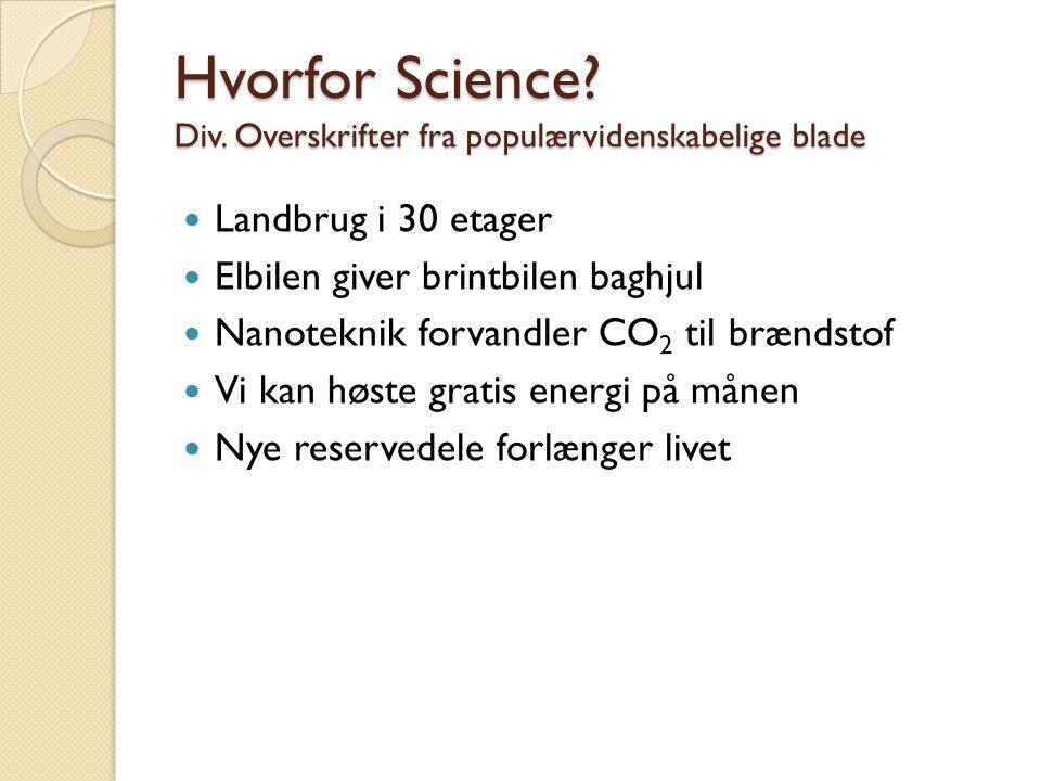 Hvorfor Science Div. Overskrifter fra populærvidenskabelige blade