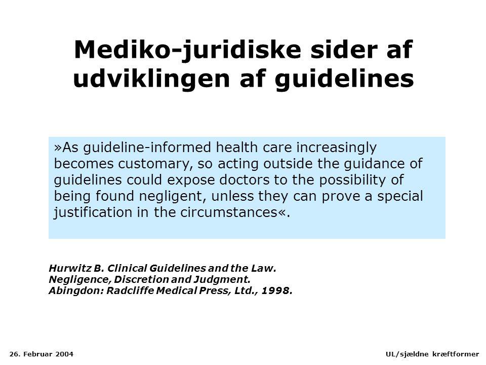 Mediko-juridiske sider af udviklingen af guidelines