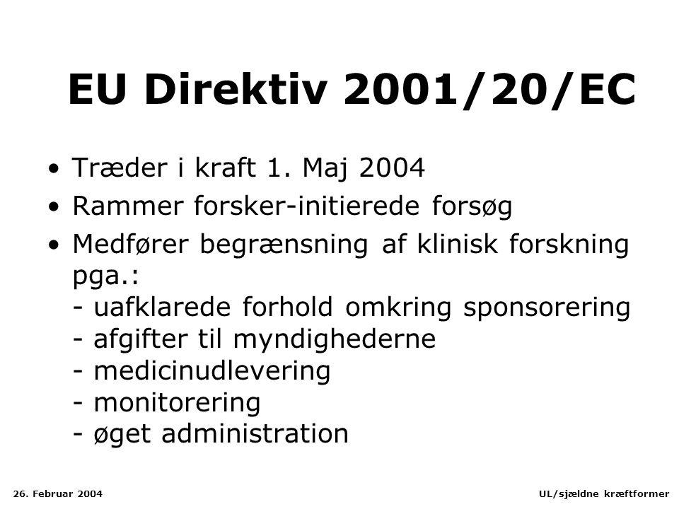 EU Direktiv 2001/20/EC Træder i kraft 1. Maj 2004