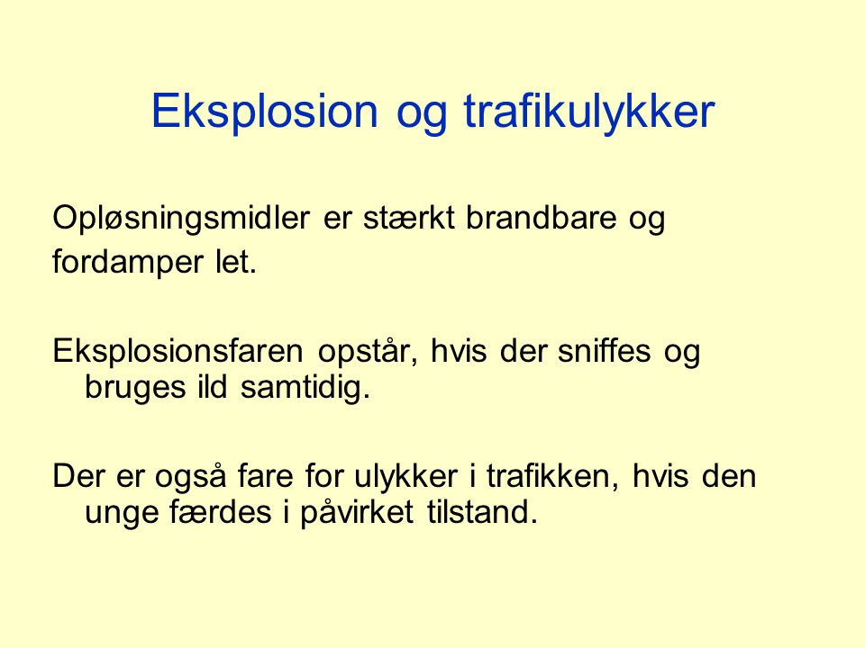 Eksplosion og trafikulykker