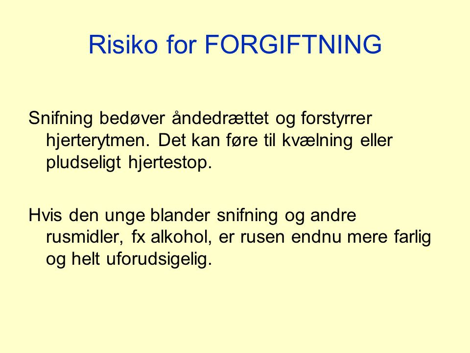 Risiko for FORGIFTNING