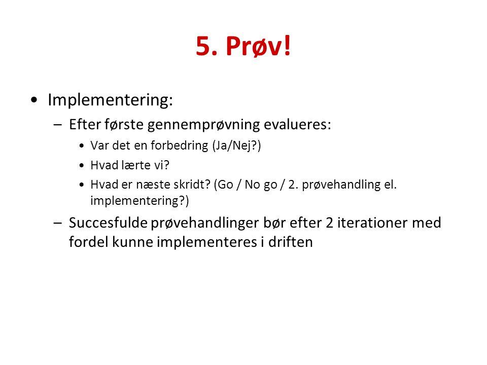 5. Prøv! Implementering: Efter første gennemprøvning evalueres: