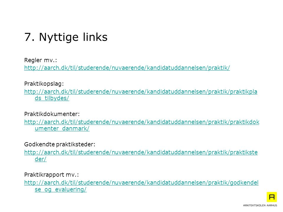 7. Nyttige links