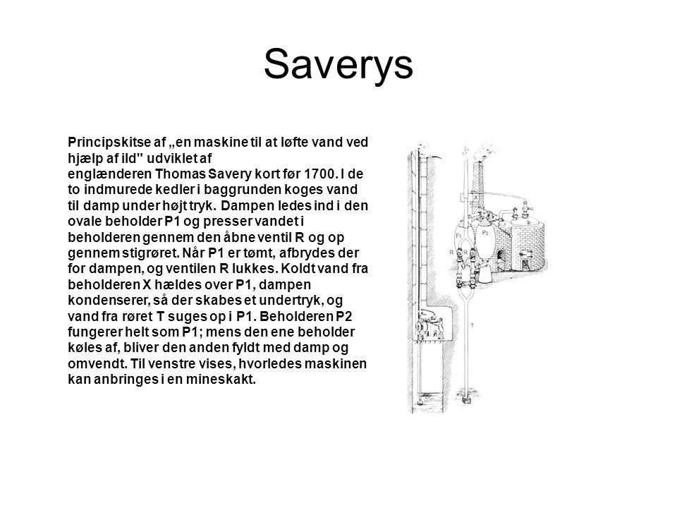 """Saverys Principskitse af """"en maskine til at løfte vand ved hjælp af ild udviklet af."""