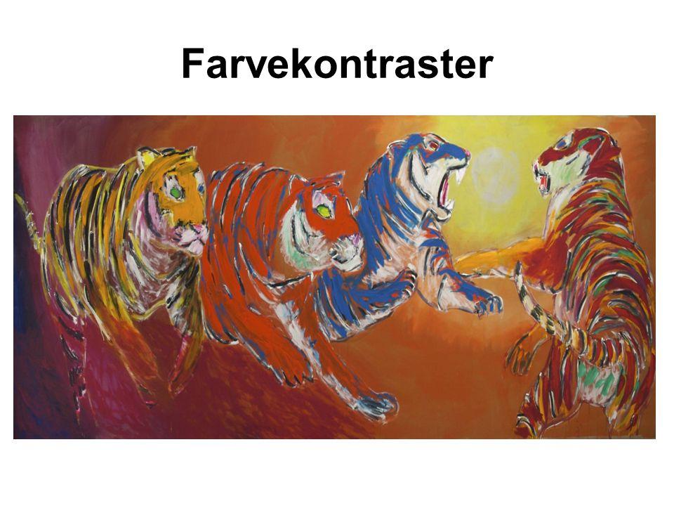 Farvekontraster Komplimentærkontrast er når to farver som ligger overfor hinanden i farvecirklen.