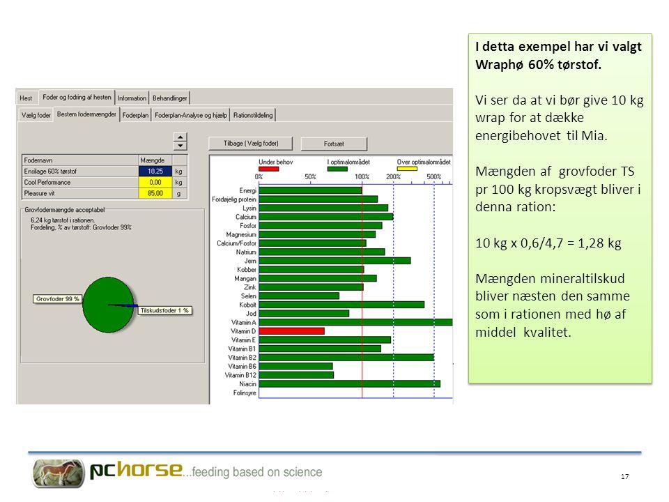I detta exempel har vi valgt Wraphø 60% tørstof.