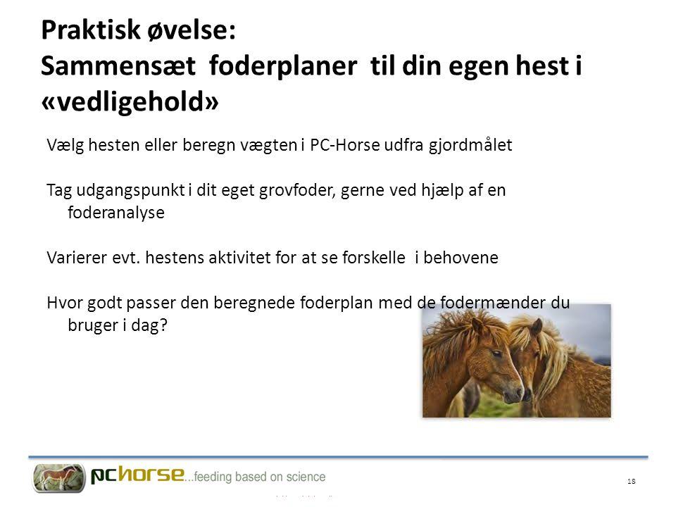 Praktisk øvelse: Sammensæt foderplaner til din egen hest i «vedligehold»