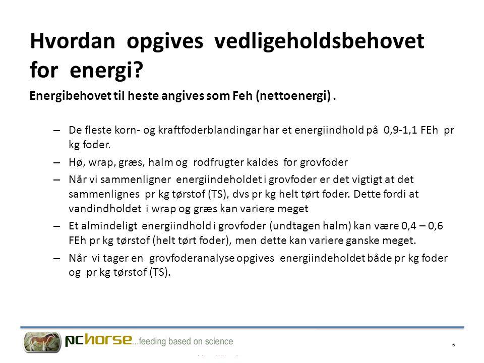 Hvordan opgives vedligeholdsbehovet for energi