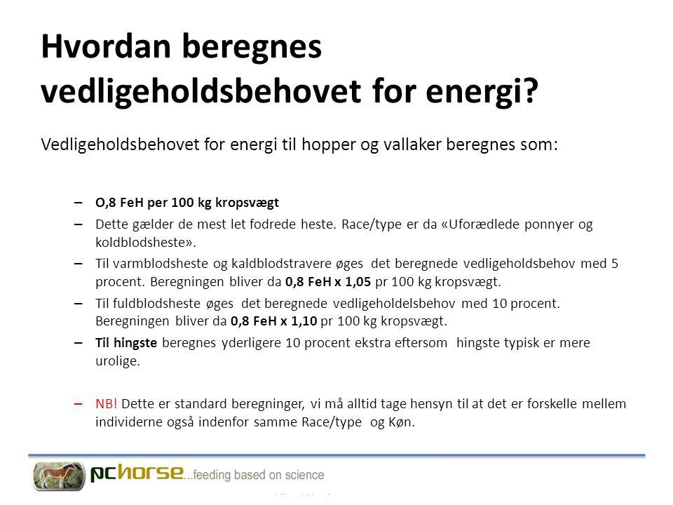 Hvordan beregnes vedligeholdsbehovet for energi