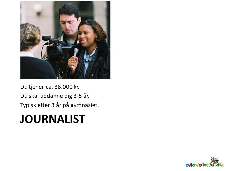 Journalist Du tjener ca. 36.000 kr. Du skal uddanne dig 3-5 år.