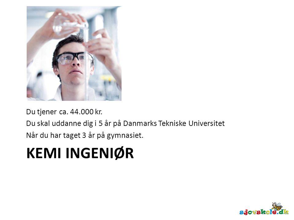 Kemi ingeniør Du tjener ca. 44.000 kr.