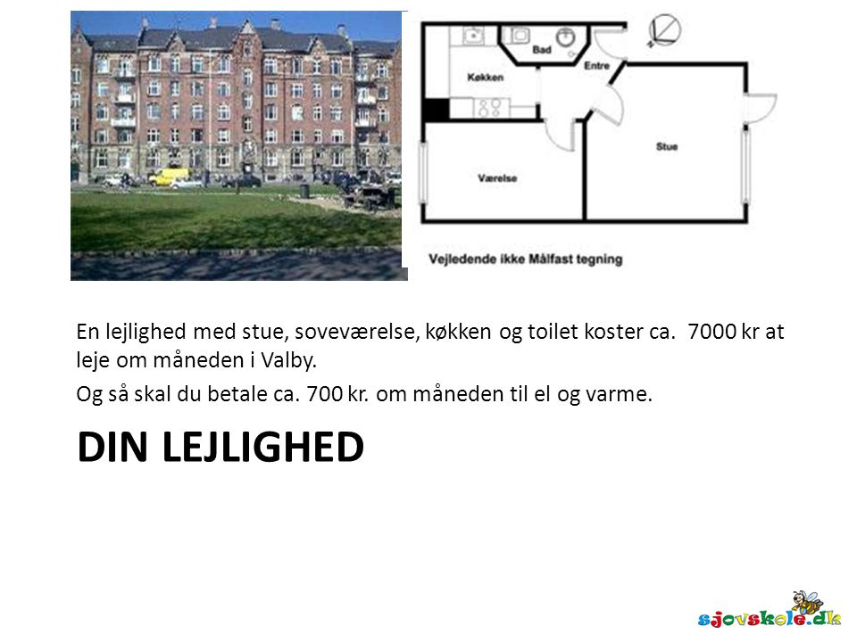 En lejlighed med stue, soveværelse, køkken og toilet koster ca