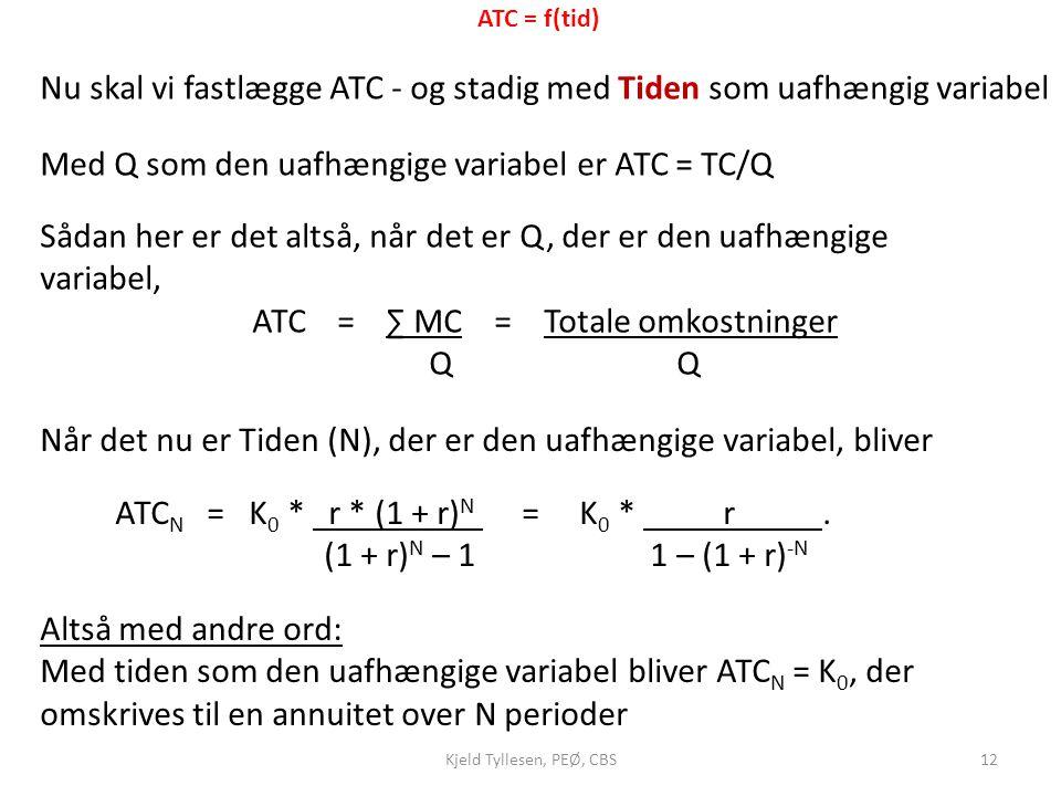 Nu skal vi fastlægge ATC - og stadig med Tiden som uafhængig variabel