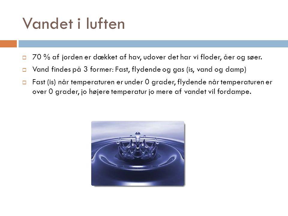 Vandet i luften 70 % af jorden er dækket af hav, udover det har vi floder, åer og søer.