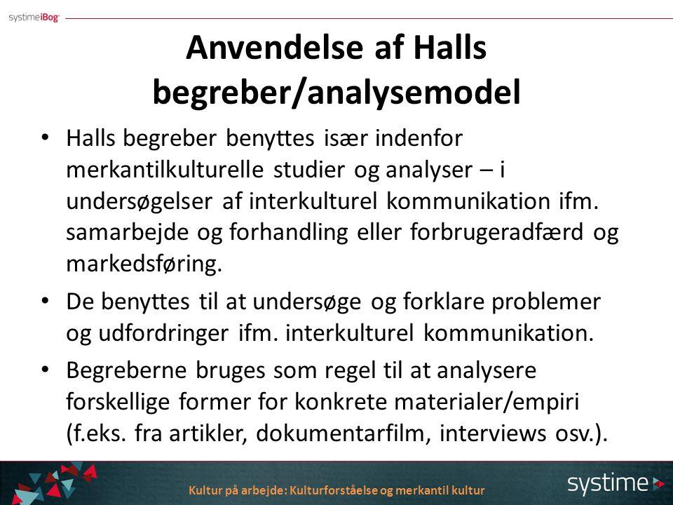 Anvendelse af Halls begreber/analysemodel