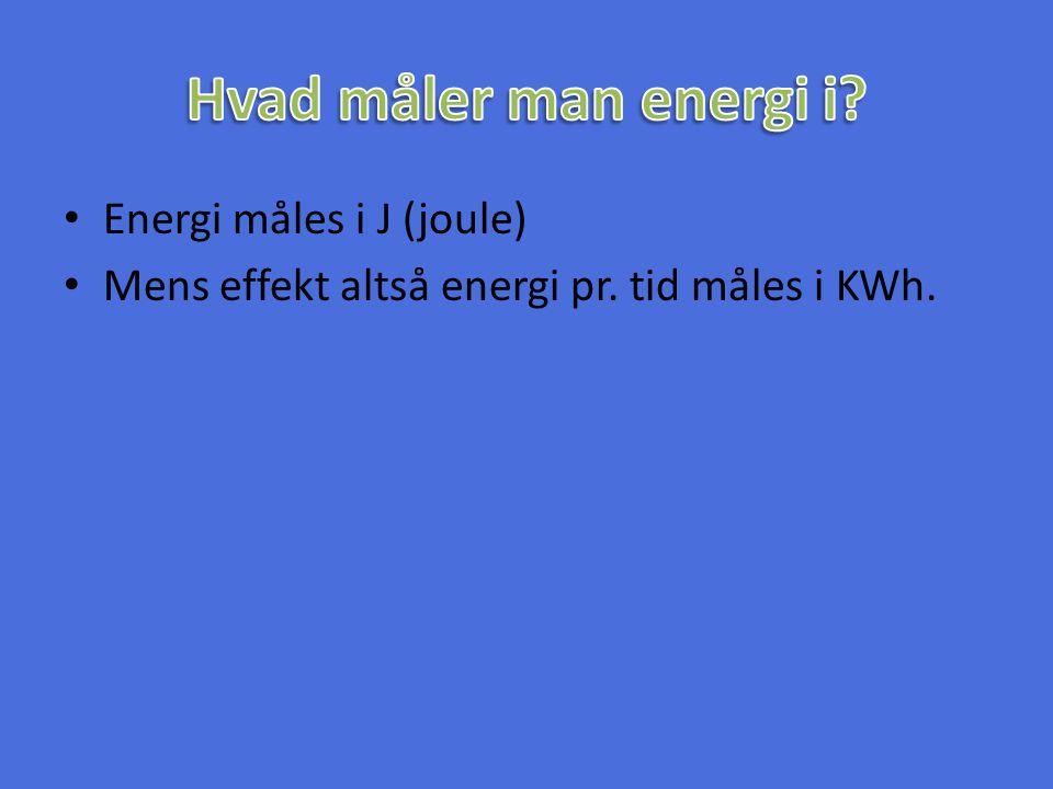 Hvad måler man energi i Energi måles i J (joule)