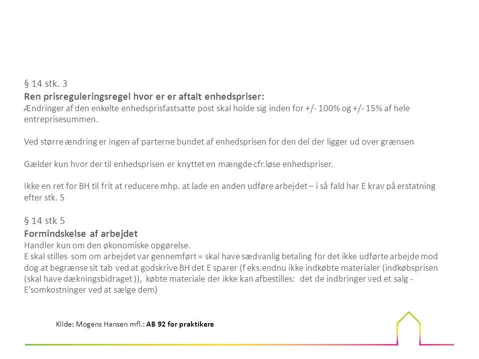 Ren prisreguleringsregel hvor er er aftalt enhedspriser: