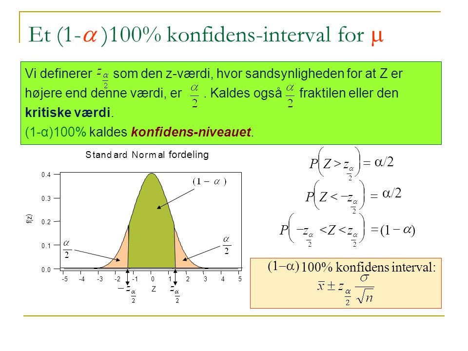Et (1-a )100% konfidens-interval for m