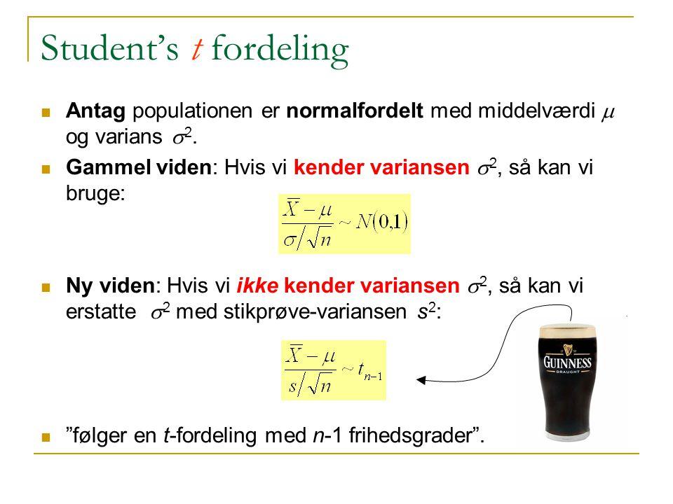 Student's t fordeling Antag populationen er normalfordelt med middelværdi m og varians s2.