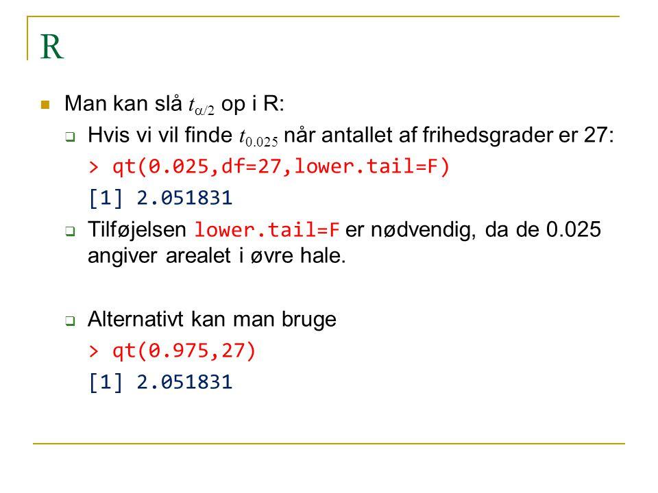 R Man kan slå ta/2 op i R: Hvis vi vil finde t0.025 når antallet af frihedsgrader er 27: > qt(0.025,df=27,lower.tail=F)