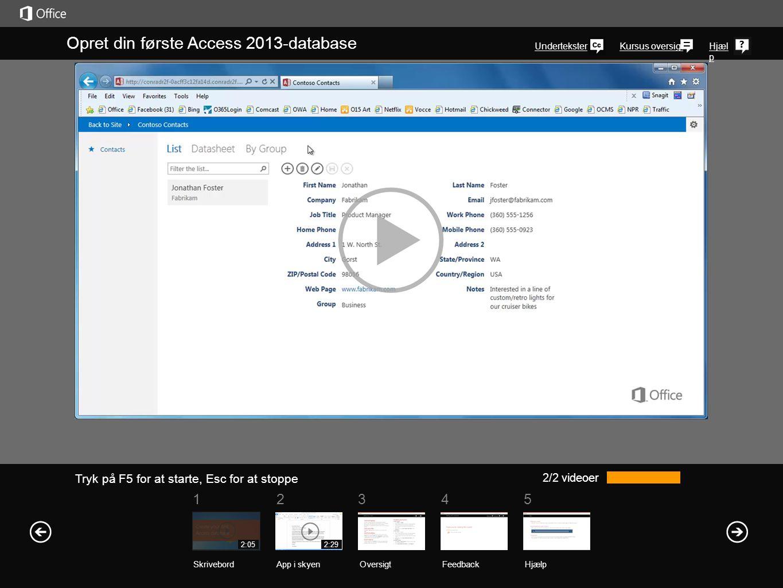 Opret din første Access 2013-database