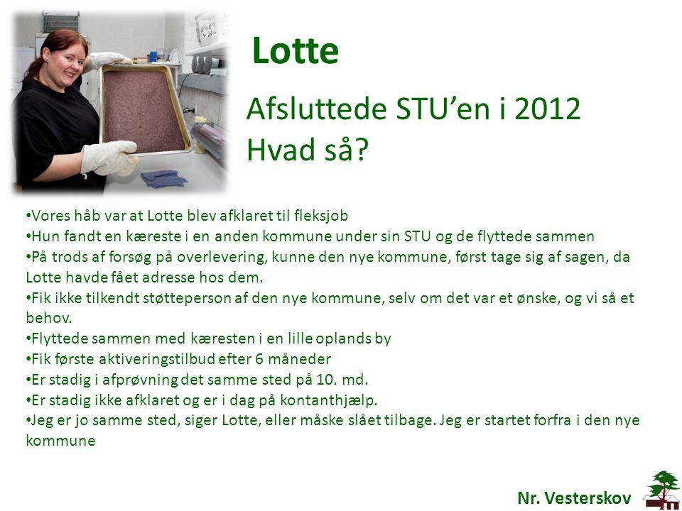 Lotte Afsluttede STU'en i 2012 Hvad så Nr. Vesterskov