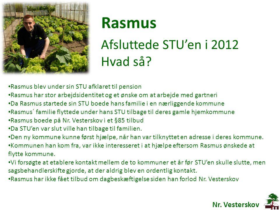 Rasmus Afsluttede STU'en i 2012 Hvad så Nr. Vesterskov