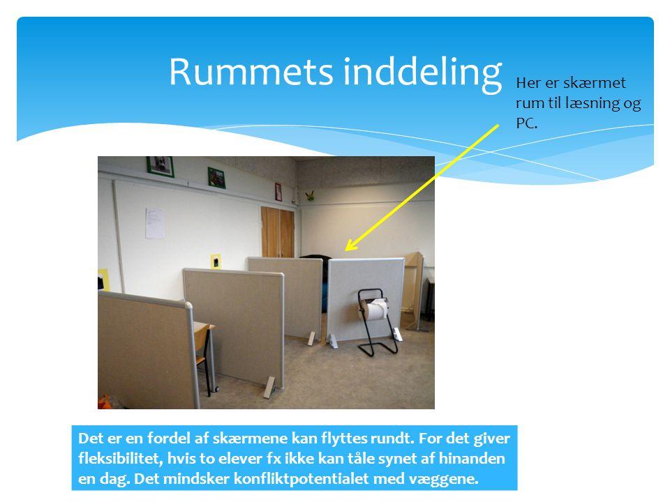 Rummets inddeling Her er skærmet rum til læsning og PC.