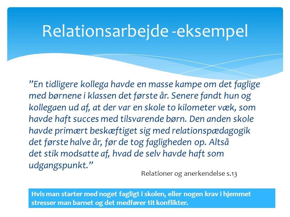 Relationsarbejde -eksempel