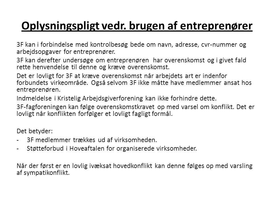 Oplysningspligt vedr. brugen af entreprenører