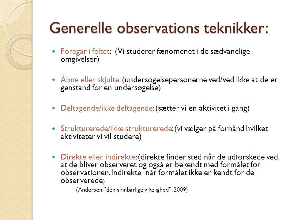 Generelle observations teknikker: