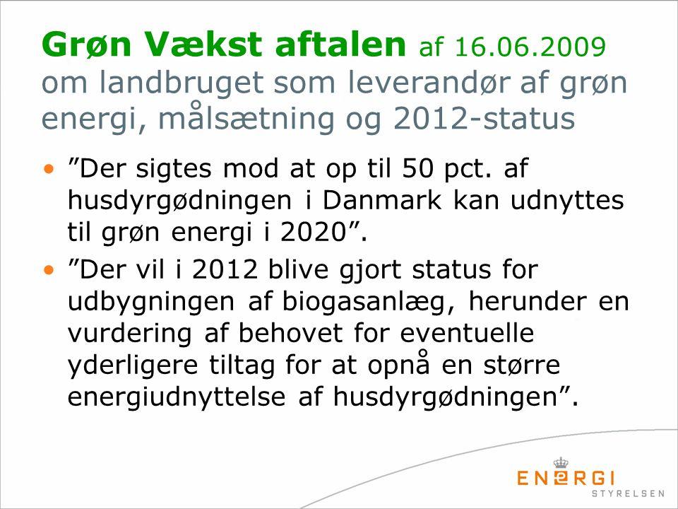 Grøn Vækst aftalen af 16.06.2009 om landbruget som leverandør af grøn energi, målsætning og 2012-status