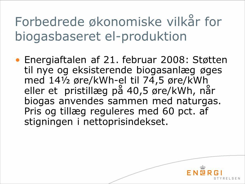 Forbedrede økonomiske vilkår for biogasbaseret el-produktion