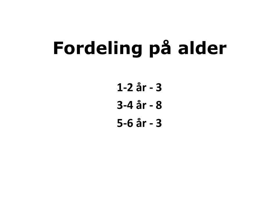 Fordeling på alder 1-2 år - 3 3-4 år - 8 5-6 år - 3