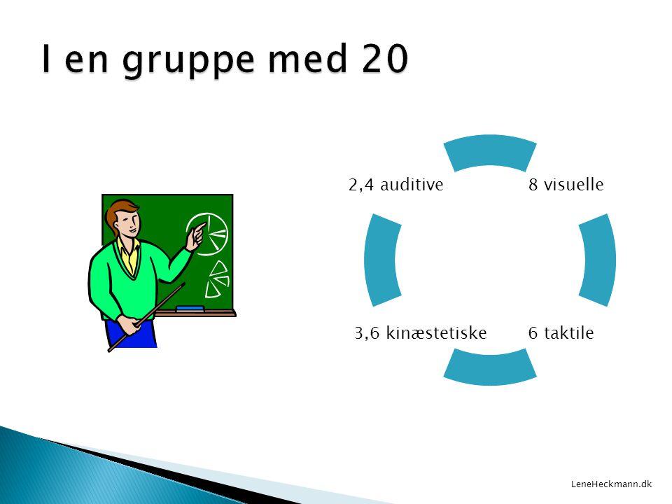 I en gruppe med 20 2,4 auditive 8 visuelle 3,6 kinæstetiske 6 taktile