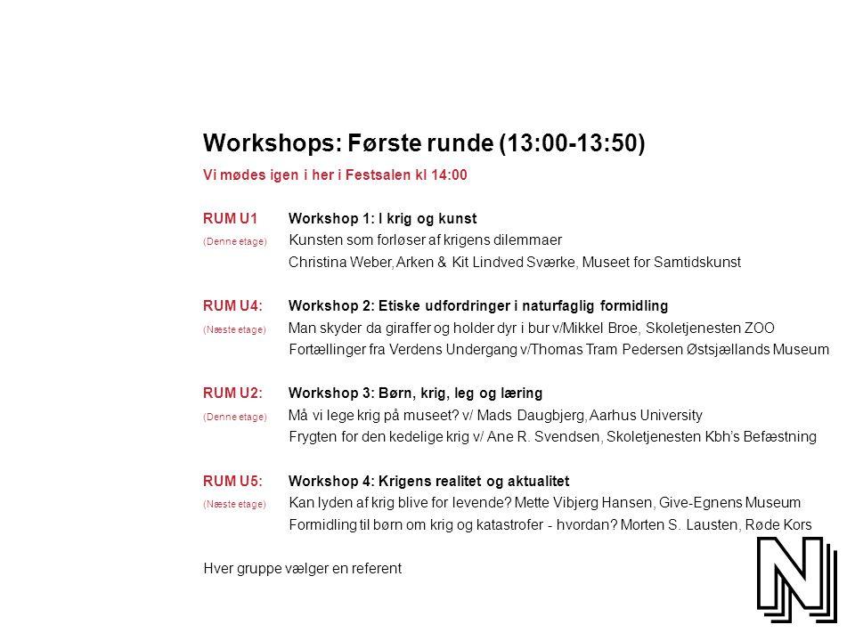 Workshops: Første runde (13:00-13:50)