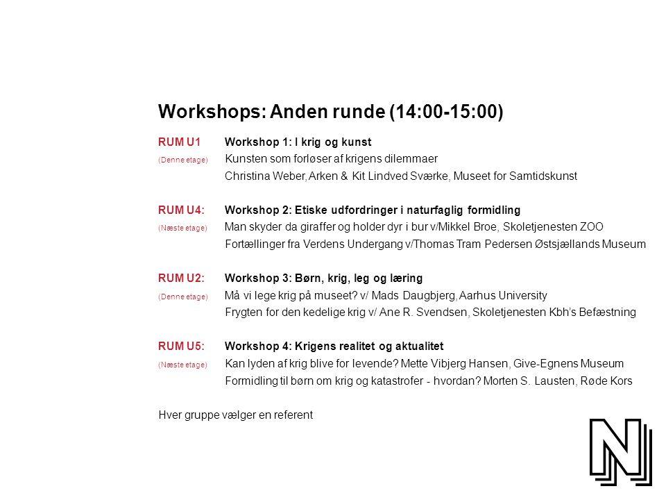 Workshops: Anden runde (14:00-15:00)
