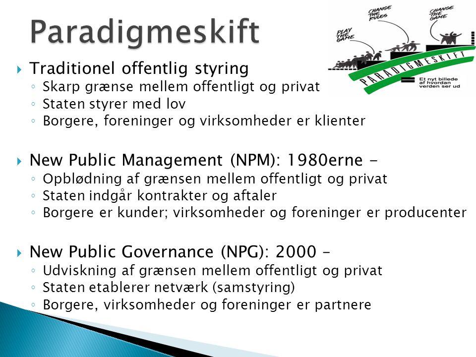 Paradigmeskift Traditionel offentlig styring