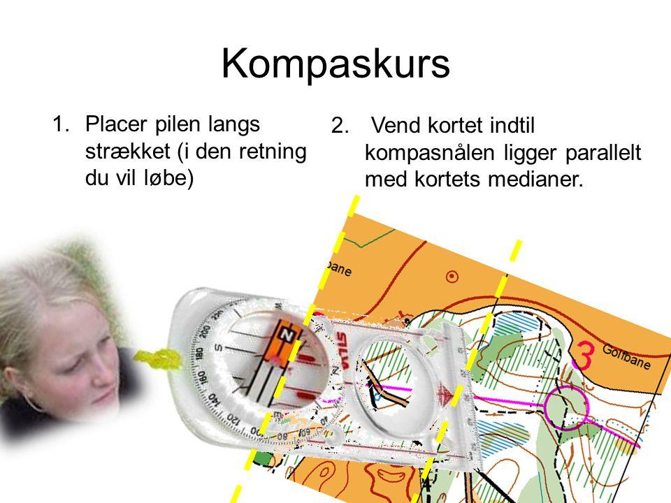 Kompaskurs Placer pilen langs strækket (i den retning du vil løbe)